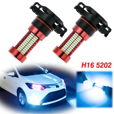 2x H16 5202 LED Bulbs with Projector Lens 106 SMD for Fog Lights DRL Driving Bulbs[Ice Blue\White]