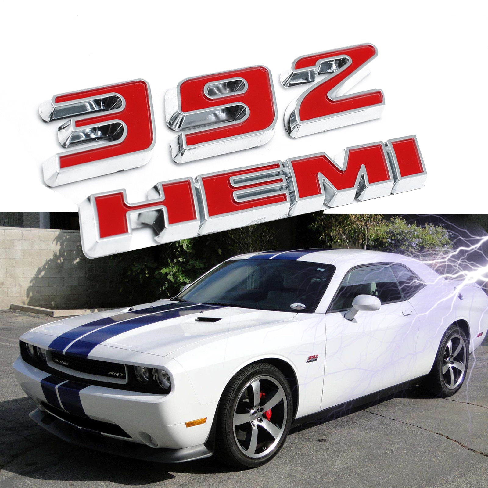 1x 392 hemi emblem badge plate decal with sticker for dodge challenger srt 6 4l srt8
