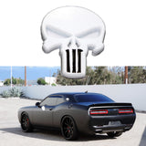 3D Black/White The Punisher Rock Skull Emblem Skeleton Car Badge Sticker