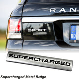 Black / Red 3D Metal SUPERCHARGED Emblem Trunk Lid Dash Sticker Fender Badge For Rang Rover