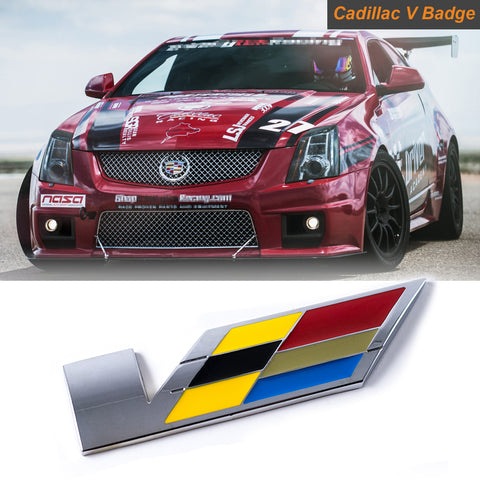 Cadillac V Emblem Decal Sticker Front Hood Rear Trunk Fender Metal Badge SLS CTS