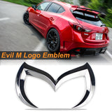 Evil M Emblem Logo Badge Decal for Mazda3 6 Mazdaspeed CX 3 5 MX-5 Miata[Chrome/Matte Black/Red/Gold]