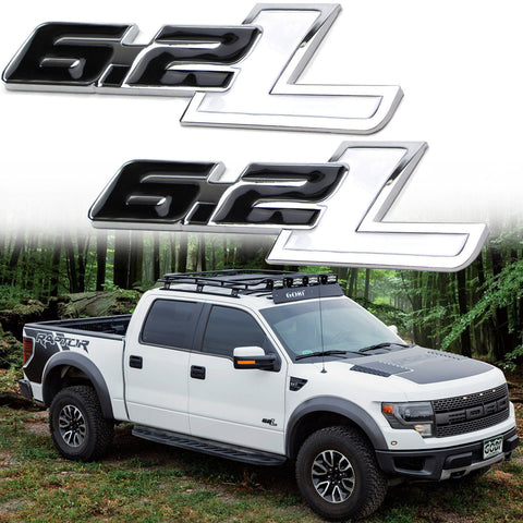 2X Black White \ Black \ Red \ Black Red 6.2L Side Door/Fender Chrome Alloy Metal Badge Emblems For Ford F-150 F-250 F-350 F-450 Raptor Trucks