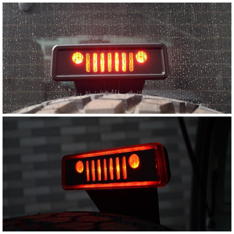 1x Grill Logo Third Brake Light Decor Cover For 07-2018 Jeep Wrangler JK Rubicon
