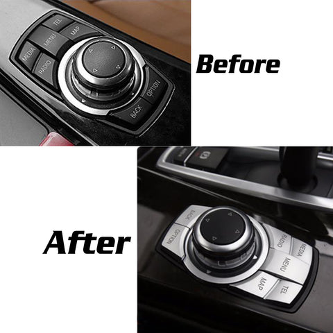 iDrive Interior Multi-Media Control Button Cover 7-Button Trims Stickers Aluminum Alloy Wire Drawing Decoration for BMW 2 3 4 5 6 X1 X3 X4 X5 X6 i3 Z4 M Series