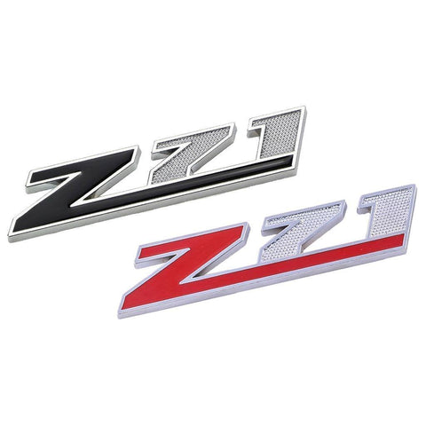 2X Black \ Red Z-71 Front Badge Emblem w/Grille Mount Insert Bracket For Chevrolet Avalanche Silverado Colorado Tahoe Suburban, etc