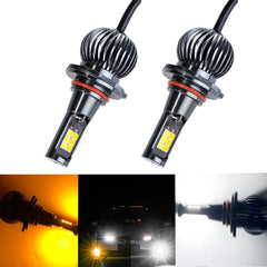 2PCS 9005 9006 Dual Color White \ Amber COB LED Fog Light Daytime Running Light