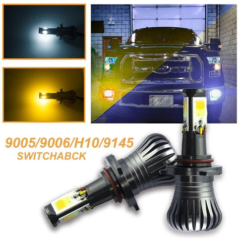 9005 9006 JDM White/Yellow Switchback LED Fog Driving Running Lights Kit for Dodge Toyota GMC Jeep etc