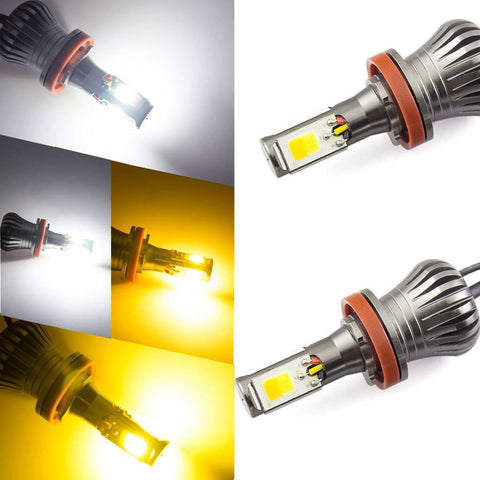 1 set H8 H9 H11 Dual-color White/Yellow Switchback COB LED Fog Driving Running Lights