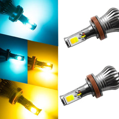 1set H8 H9 H11 Dual-color Blue/Yellow Dual Color Switchback LED Fog Driving Running Lights Kit