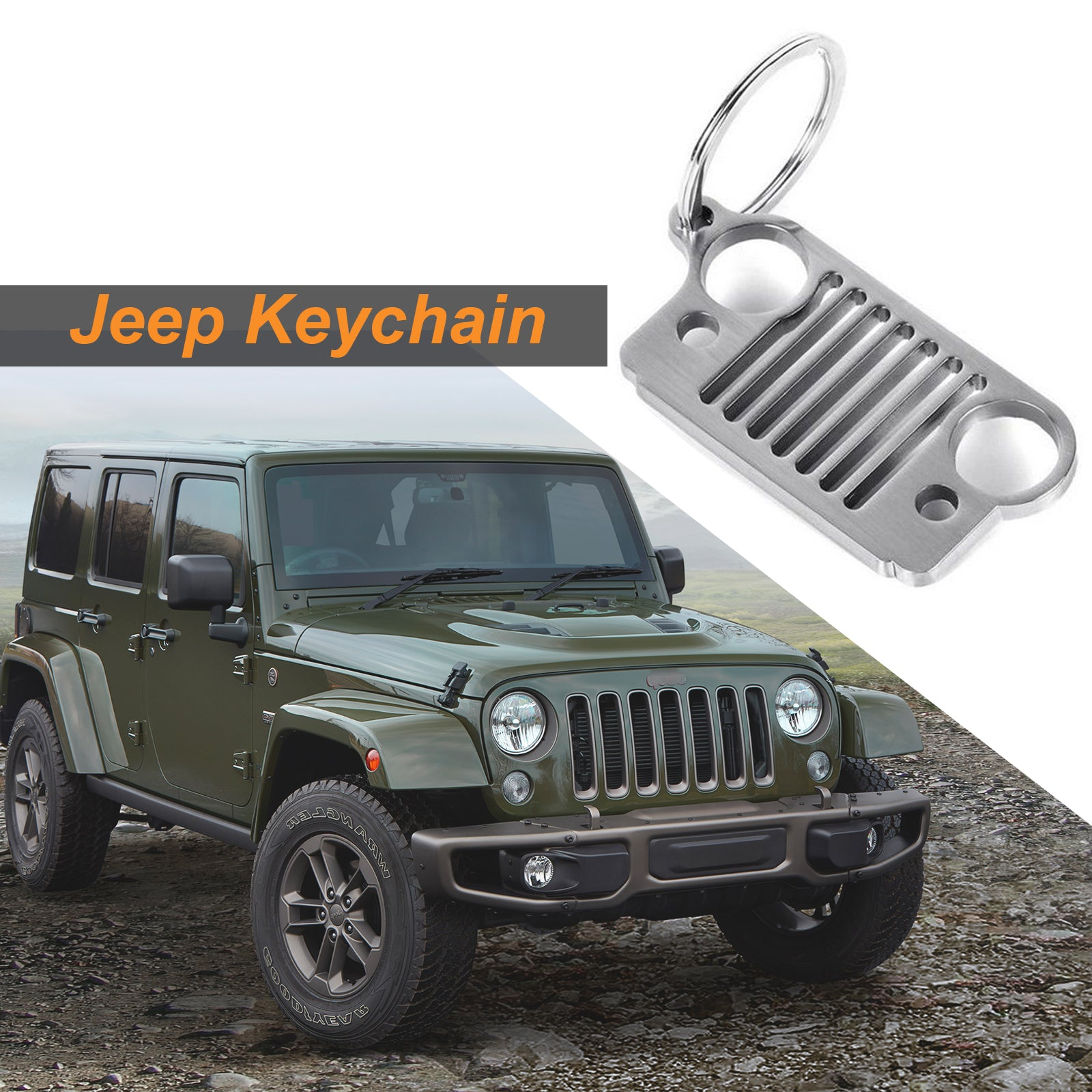Metal Front Bumper Grill Shape Key Chain Fob Ring Keychain