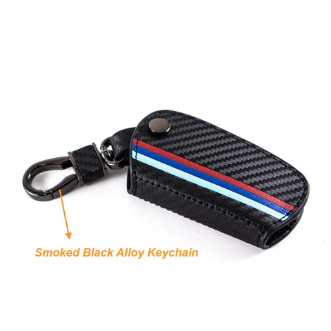 1 Piece ///M Carbon Fiber Leather Keyless Remote Entry Key FOB Cover M-Colored Strip For BMW X1 X5 X6 5 7 Series G30 G31 G11 G12/ X1 X3, M3 M5 M6, GT3 GT5
