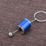 Metal Gear Shift Knob Stick Box Shifter 6-Speed Keychain Fob Ring for all Keys[Blue\Black\Red\Silver]