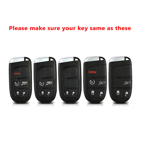 1x Glossy Gold TPU Smart Key Remote Keyless FOB Shell Case W/ Braided Keychain For Jeep Dodge Chrysler