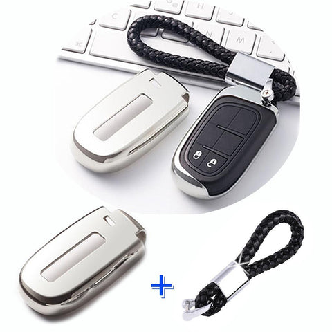 1x Glossy Silver TPU Keyless Remote FOB Shell Case W/ Black Keychain for Jeep Dodge Chrysler