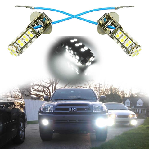 2x Super Bright White H3 28-SMD 6000K LED Bulbs for Fog Driving Light Lamp DRL