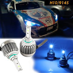 Ice Blue 8000K High Power COB LED Headlight Conversion For Low/High Dual Beams DRL Fog Lights Kit Bulbs (H10 9145)
