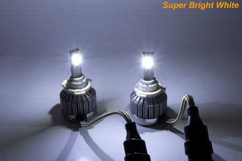 H4 9003 HB2 COB LED Headlight Conversion Kit For High/Low Dual Beam White 6000K 6000LM