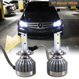 H7 6000K White COB LED Headlight Bulbs Conversion For High/Low Beam DRL Fog Lamps