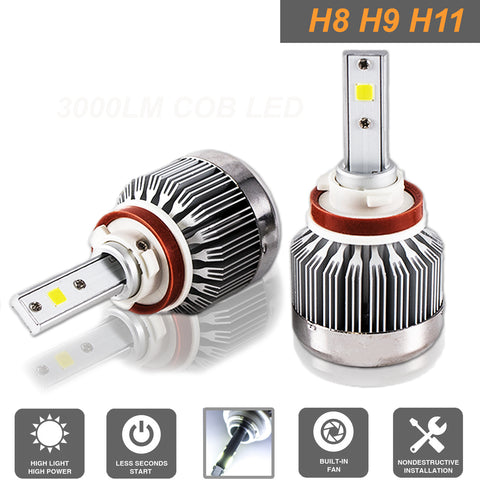 LED Headlight Kit H8 H9 H11 COB LED 6000LM 6000K White for High Low Beam Fog Bulb Headlight