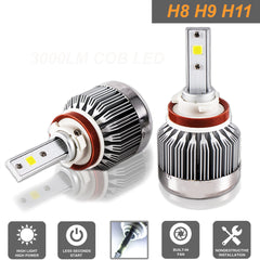 Cree LED Headlight Kit H8 H9 H11 COB LED 6000LM 6000K White for Hight Low Beam Fog Bulb HID Leadlight