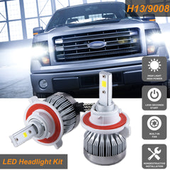 H13 9008 COB LED Headlight Conversion Kit High/Low Beam 6000LM HID Xenon White