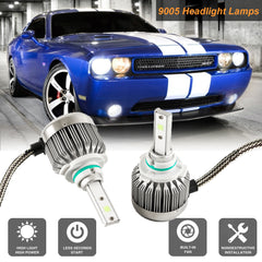 9005 HB3 Xenon White 6000K LED Headlight Conversion Kit For High/Low Beam DRL