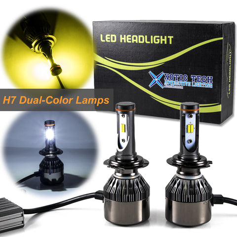 H7 Dual-Color 3000K/6000K HID matching xenon white /yellow LED Headlight High/Low Beam DRL Lamps For Audi Benz BMW VW