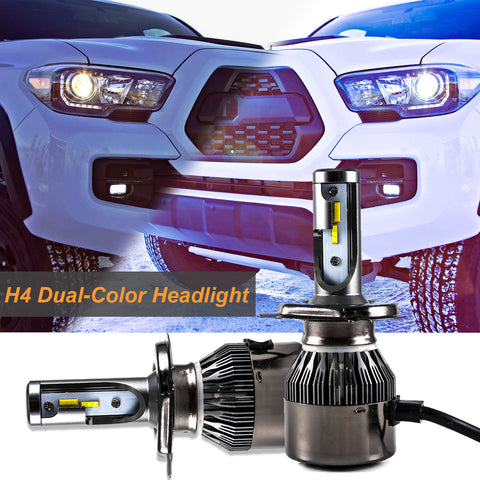 Pair 9003 H4 White and Yellow LED Headlight Dual-Beam DRL Lamps 36000LM For Toyota Honda Chevrolet