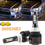 9005 Bright Dual-Color 3000K/6000K HID matching xenon white /yellow LED DRL Beam Headlight Bulbs For Land Rover Ford GMC Dodge Charger Accord Odyssey