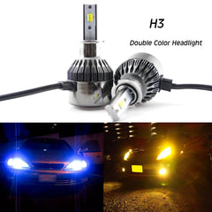 H3 8000LM Dual-Color 3000K Amber\8000K Ice Blue LED Headlight Low Beam DRL Lamps