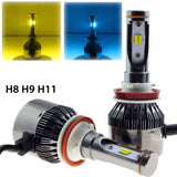 Ice Blue Gold Yellow Dual color H11 H9 H8 Fog Light High Low Beam Headlight Kit LED 3000K 8000K