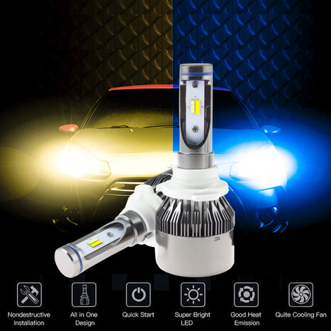 Dual Color Ice Blue Yellow 9005 HB3 LED High Low Beam Fog Light Daytime Running Light Headlight Kit 3000K 8000K