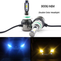 Double Color LED Headlight Kit 9006 HB4 60W 8000LM Chevrolet\ Dodge\ Nissan\ GMC\ RamHigh Low Beam Bulbs Pair Ice blue/Amber