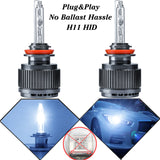 2x H11 HID Headlights Bulbs Ice Blue Light Direct Lamps No Ballast Hassle