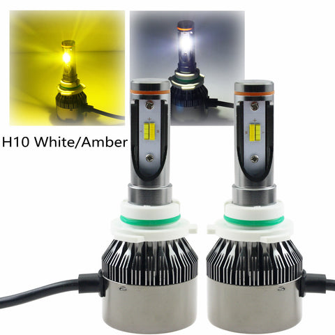 3000K 6000K White & Amber H10 9145 LED High/ Low Beam Headlight Conversion Kit
