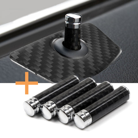 Carbon Fiber 4 Door Lock Knob Pins with Decals Universal Fit BMW 1 3 5 7 X1 X3 X5