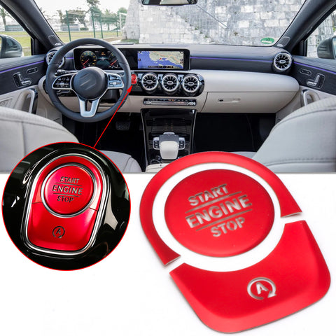 Car Keyless Engine Push Start Button + Surrounding Ring For Mercedes A CLA Class(Red)