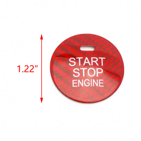 Carbon Fiber Car Engine Start Button Sticker Interior Trim Accessories for Mazda 3 6 CX-3 CX-5 CX-9 MX-5 w/Push Start Engine (Red)