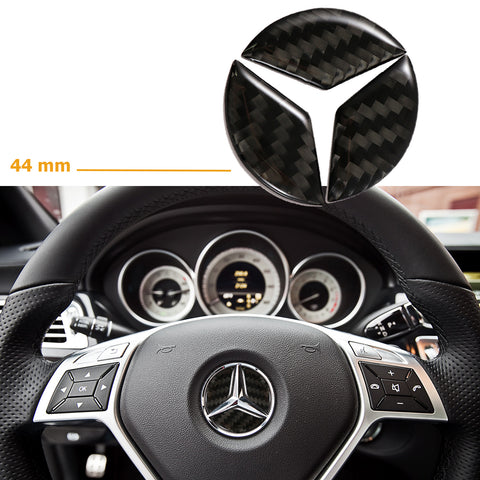 49mm/44mm Steering Wheel Center Cover Trim Logo 3D Carbon Fiber Emblem Sticker for Mercedes C E CLA GLA GLC GLE W204 GLA