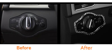 Headlight Switch Carbon Fiber Sticker Trim For Audi 2009-2015 B8 A4 S5 Q5 RS4