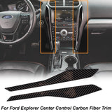 Real Carbon Fiber Trim Sticker For Ford Explorer 2016 2017[Multimedia Center Control Panel/AC Air Vent NAVIGATION Panel /Gear Shift Panel+Cup Holder Panel/Multimedia Panel]