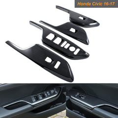 Carbon Fiber Pattern Cover Trim Sticker Decoration for Honda Civic 2016-2019 [Console Dashboard/Door Lock Panel Switch Bezel / Door Audio Speaker etc]