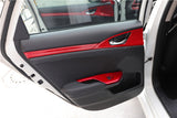 Red Interior Armrest Window Rise Lift Down Control Switch Door Lock Panel Cover Trim Accessories for Honda Civic 10th Gen 2016 2017 2018 2019 2020