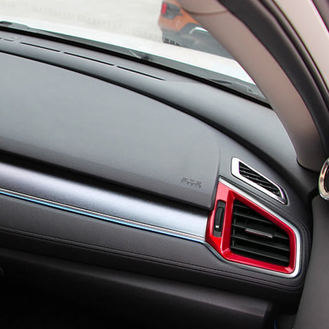 RED Interior Front Dashboard AC Air Vent Outlet Cover Trim Frame Panel Decoration 3pcs kit For Honda Civic 10th Gen 2016 2017 2018 2019 2020