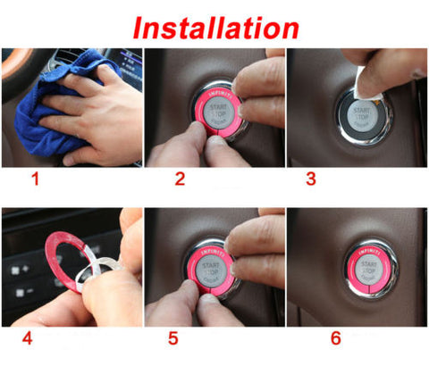 RED / BLUE / Purple engine start stop push button knob key switch decor ring trim for Infiniti