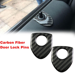 2X Shield Style Carbon Fiber Door Lock Pin Knob Decor Stickers Emblems For BMW 1 3 5 7 Series X3 X5 X6