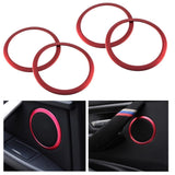 4pc Red Aluminum Door Speaker Ring Cover Trims Fit 14-17 BMW 3 4 M3 M4 F30-F33