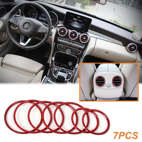 7pc Red Ring Cover Trims Air Vent Outlet For Mercedes Benz W205 C200 GLC 15-16