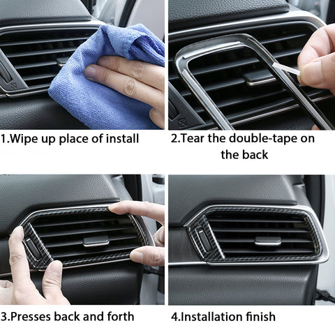 Carbon Fiber Texture Interior Dashboard Air Vent AC Outlet Frame Overlay Trim Decor Cover For Honda Accord 2018 2019 2020